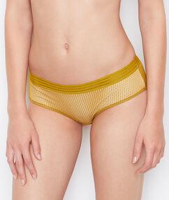 Kalhotky shorty dva materiály okrová.