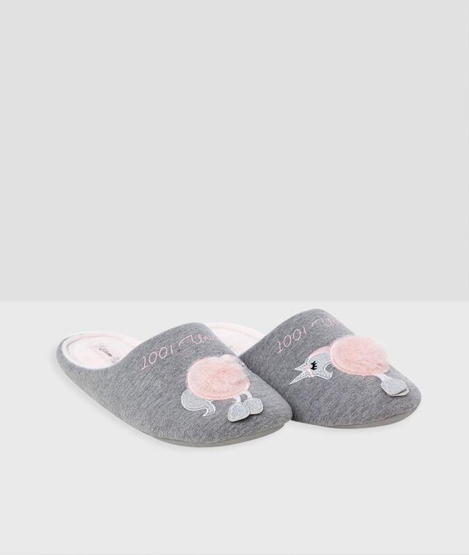 Pantofle sjednorožcem šedá.