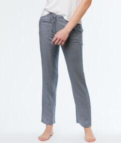 Kalhoty z mikrovlákna s potiskem bleu.