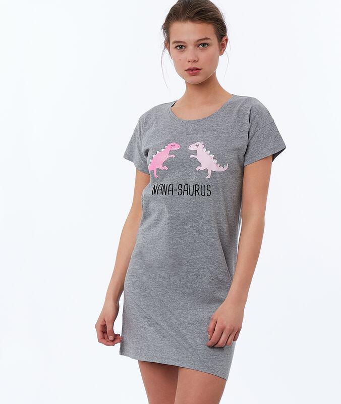 Noční košilka spotiskem dinosaurů šedá.
