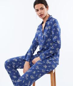 Kalhoty s kašmírovým potiskem modrá.