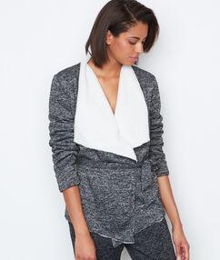 Kožešinová mikina homewear šedá.