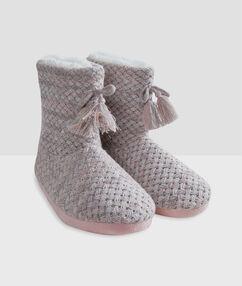 Pletené domácí papuče gris/rose.