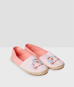 Plátěné papuče s potiskem růžová.