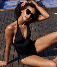 Jednodílné plavky z hedvábí černá.