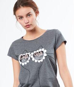 Tričko s potiskem s brýlemi  gris.