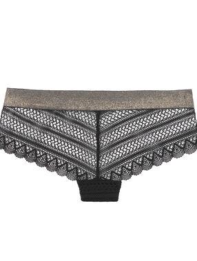Krajkové nohavičkové kalhotky, s okraji s kovovým efektem černá.