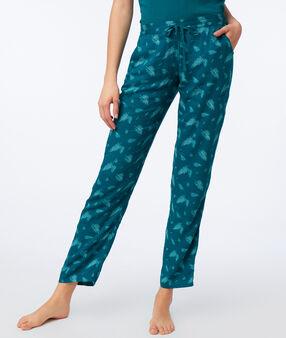 Pantalon imprimé plume vert.
