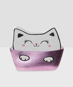 Toaletní taška kočka ecru.