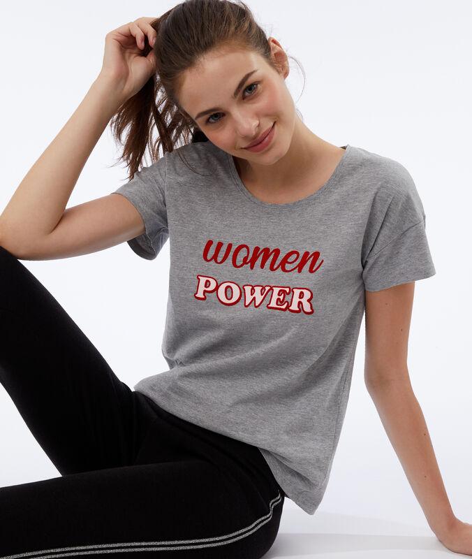 Tričko 'women power' šedá.