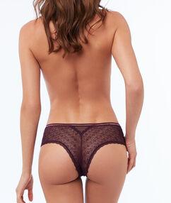 Bokové kalhotky skvětinovou krajkou fialová.