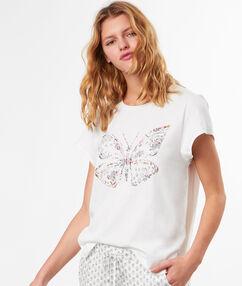 Tričko s potiskem s motýlky blanc.