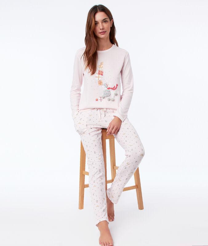 Pyžamové kalhoty s motivy růžová.