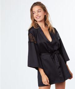 Negližé kimono satén krajka noir.