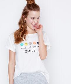Tričko s potiskem smiley bílá.