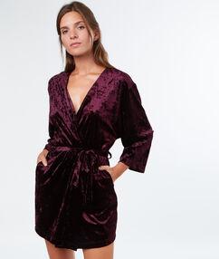 Negližé kimono sametové aubergine.