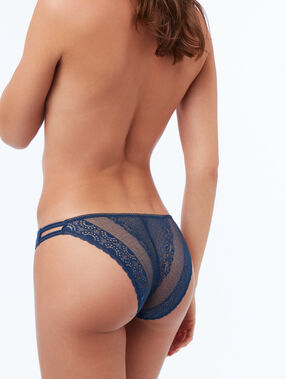 Krajkové kalhotky s elastickými pásky modrá.