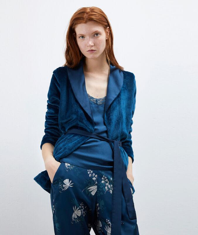 Třídílné saténové pyžamo modrá.