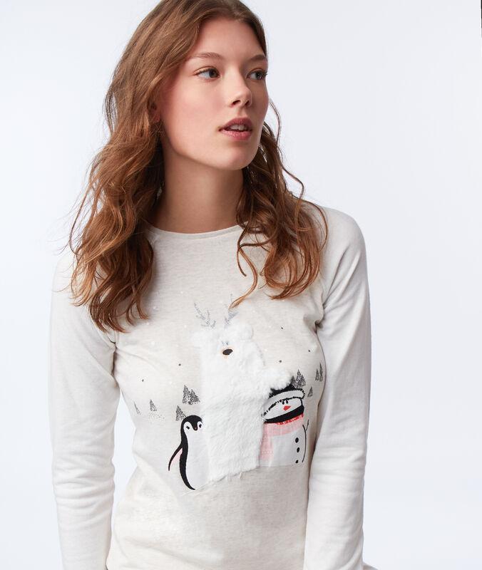 Tričko s detaily z nepravé kožešiny béžová.