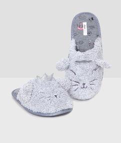 Pantofle kočka 3d gris.