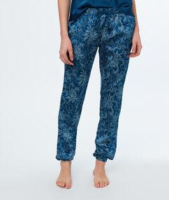 Saténové kalhoty s kašmírovým potiskem bleu.