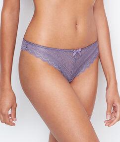 Krajkové kalhotky brazilky světle fialová.