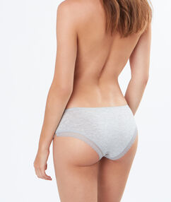 Jemné modalové kalhotky shorty s krajkovým lemem šedá.