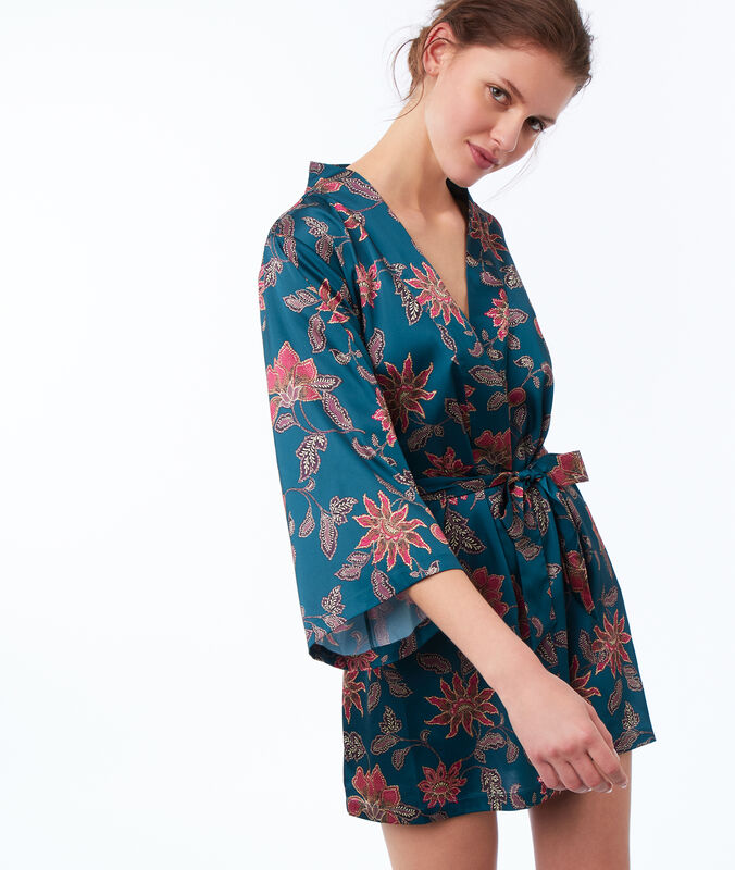 Kimono spotiskem modrozelená.