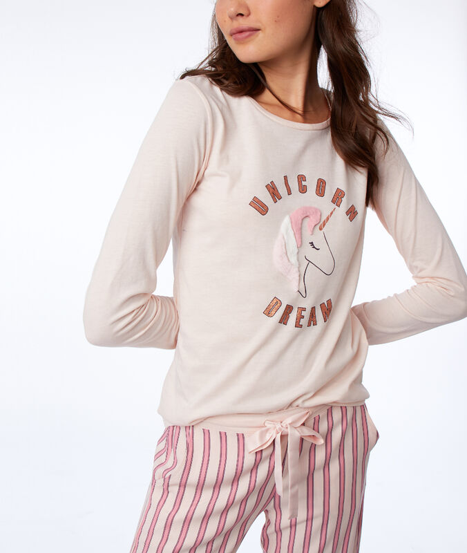 T-shirt manches longues licorne rose.