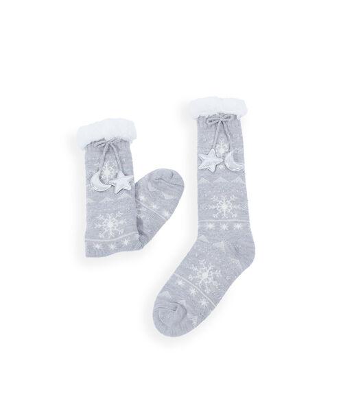 Domácí ponožky se šňůrkami a nápisem