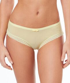 Kalhotky shorty s krajkovými okraji jaune pâle.