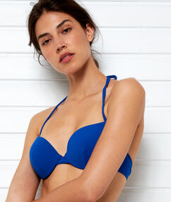 Haut de maillot de bain push-up bleu royal.