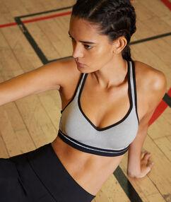 Sportovní podprsenka, vyjímatelné vycpávky a zápasnická záda - střední podpora šedá.