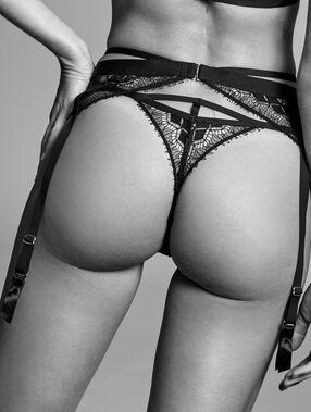 Podvazkový pás z jemné krajky  černá.