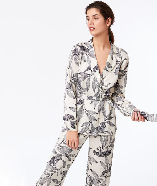 Pyžamová košile na zavazování s květinovým potiskem