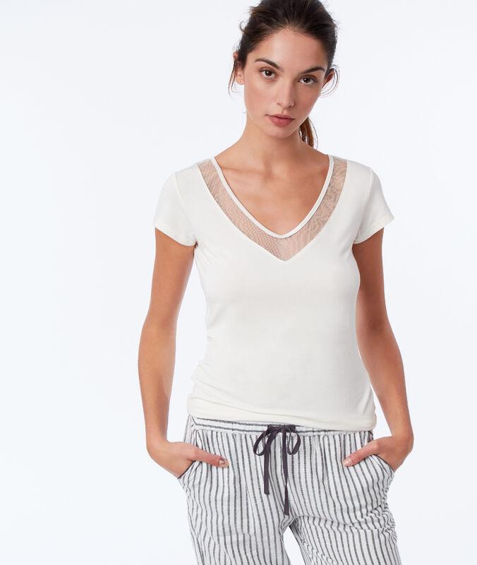 Tričko s krajkovým dekoltem béžová.