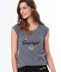 T-shirt à message super-heros gris.