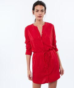 Noční košile spřepásáním červená.