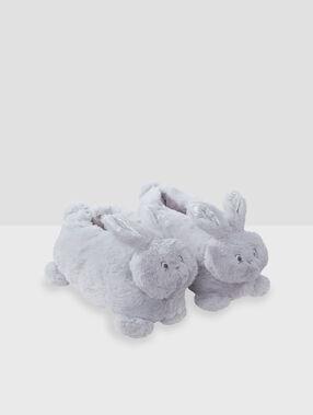 Pantofle s3d králíkem šedá.