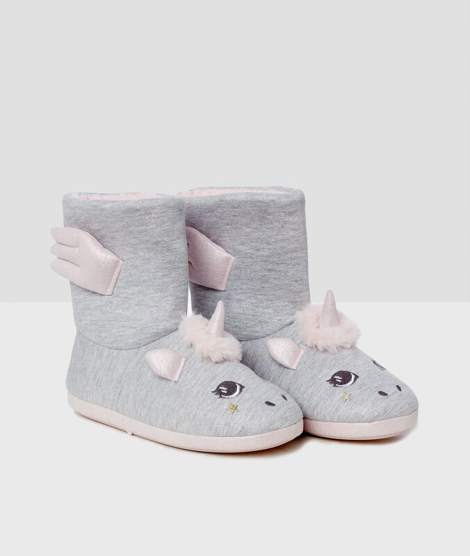 Boty podšité kožešinou šedá.