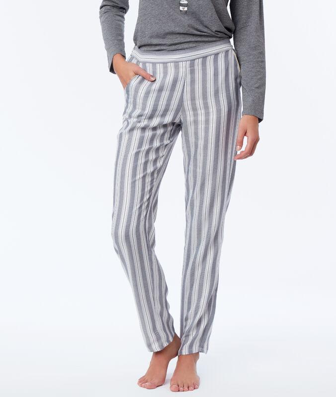 Pruhované pyžamové kalhoty šedá.
