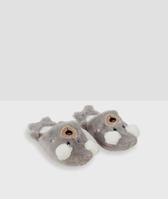 Chaussons mules 3d gris.