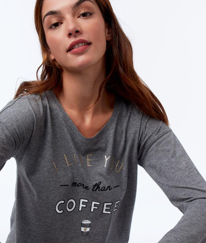 Tričko s textem s mašlí antracitová.