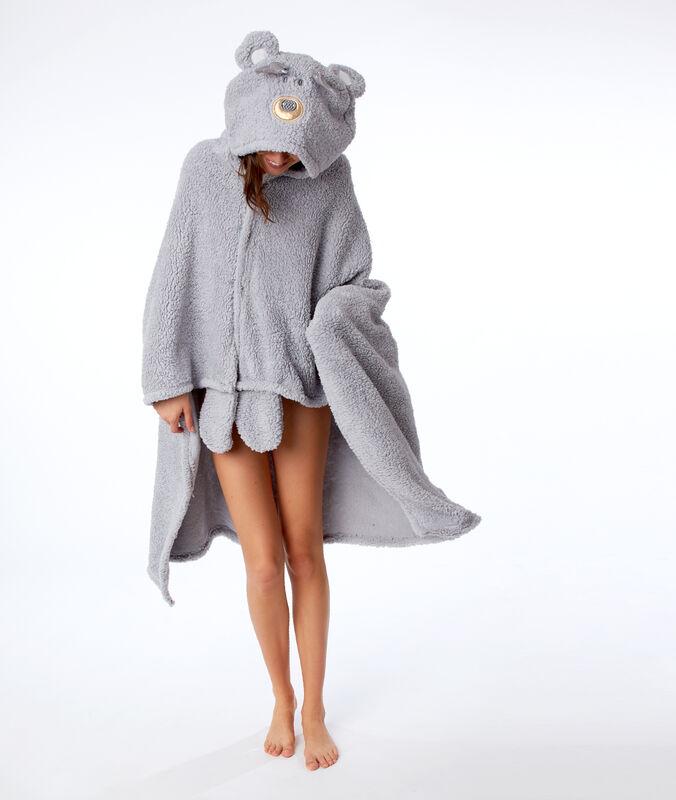 Pončo s kapucí medvěd šedá.