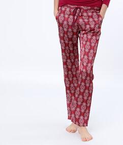 Saténové kalhoty s potiskem bordó.