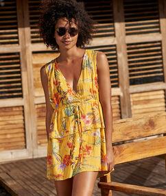 Šaty na pláž, výstřih v žlutá.