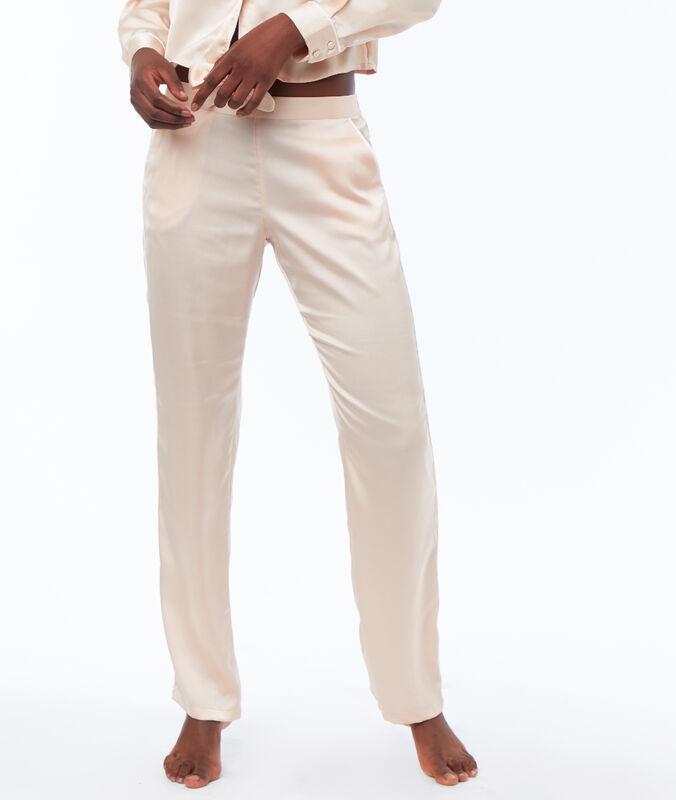 Kalhoty saténové pudrově růžová.