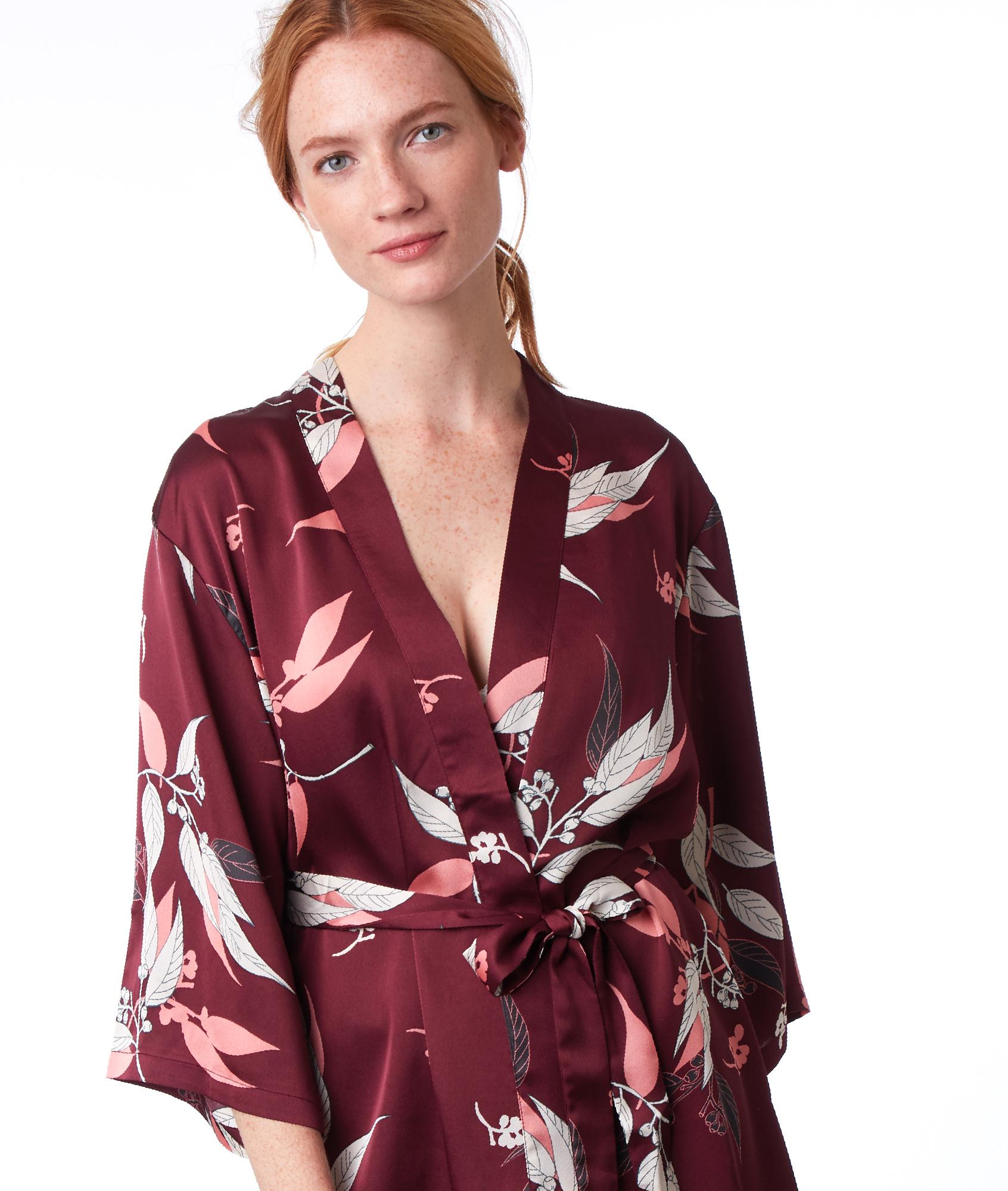 Kimono negližé s potiskem bordó.